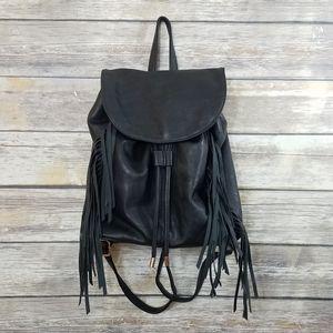 Kensie Black Faux Leather Fringe Bucket Backpack